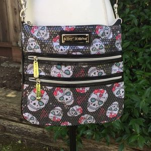 Betsey Johnson Skulls Bows Hearts Crossbody Purse